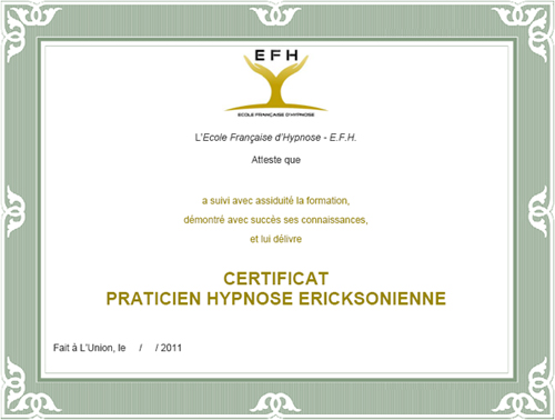 certificat hypnose